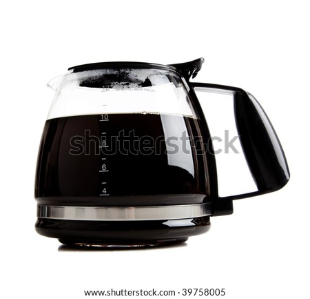 A full black coffee pot on a white background