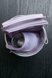 a full bucket of euro cash money