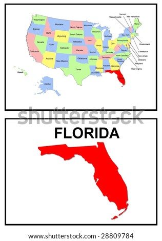 a full color map of the united states of america with the florida