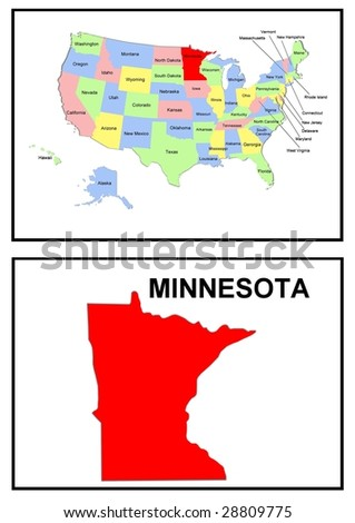 a full color map of the united states of america with the minnesota