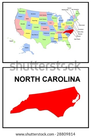 a full color map of the united states of america with the north carolina