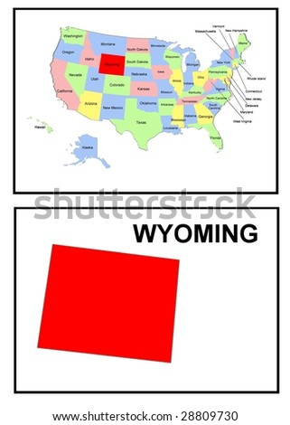 a full color map of the united states of america with the wyoming