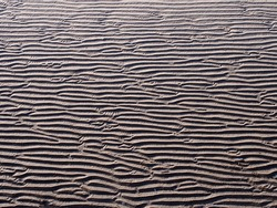 A full frame beach background with wavy pattered surface formed by water on the wet sand