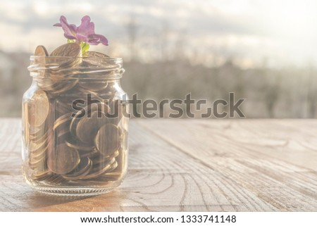 A full glass jar with gold coins from which the purple flower grows as money grows in it #1333741148
