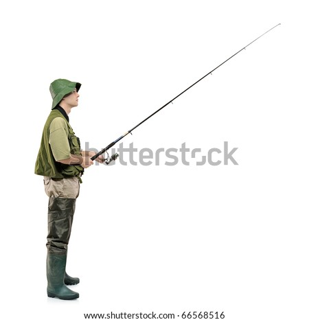 A full length portrait of a fisherman holding a fishing pole isolated against white background