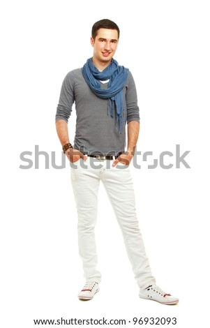 A full-length portrait of a young handsome guy, isolated on white background