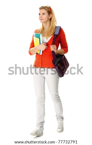 A full-length portrait young college girl with books