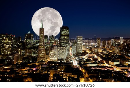 A full moon over an urban metropolis