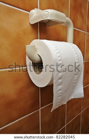 A full toilet roll on a tiled wall