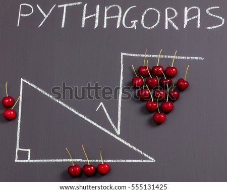 a fun way of illustrating pythagoras' theorem by using red cherries and a  chalk diagram