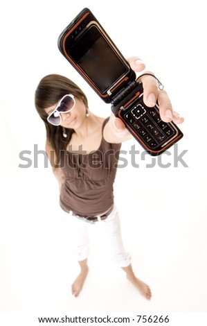 A funky girl holds up her phone