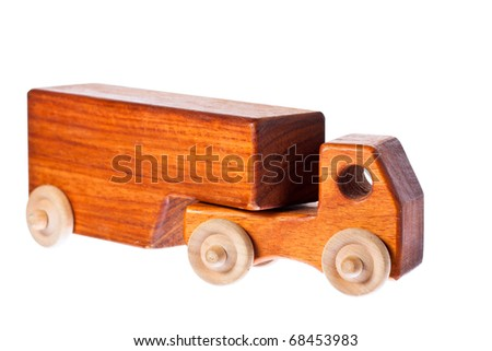 A funky retro wooden truck or semi-trailer. Isolated over white with clipping path.