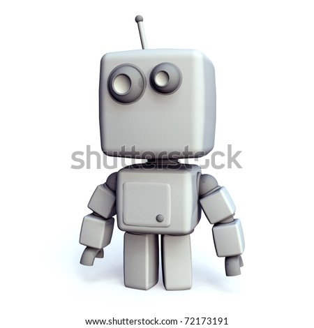 A funny and simple White 3D robot on white Background