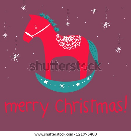 Christmas Rocking Horse A funny cartoon wooden red rocking horse ...