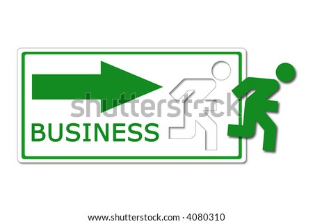 funny icon. stock photo : A funny icon, like the exit sign, of a green man