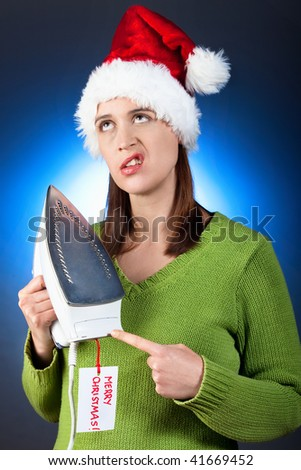 A funny scenario of a  woman upset with her Christmas gift.