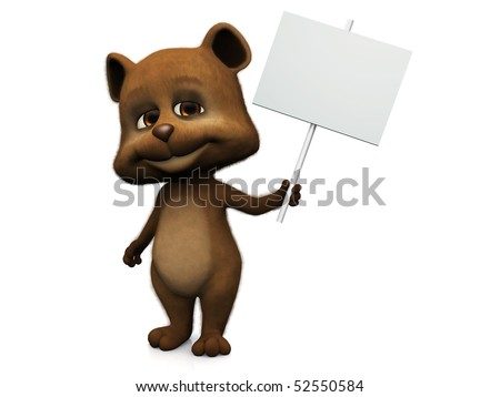 A furry cute bear with a big smile holding a blank sign in its hand. White background.