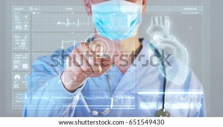 A futuristic doctor, a surgeon, looks at a technological digital holographic monitor, a hologram heartbeat, a medical mask, a blue robe Concept futuristic medicine, doctors, laboratory future science