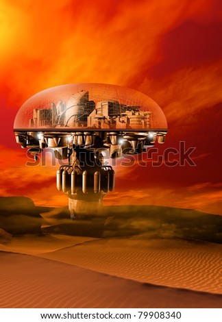 A futuristic domed city situated in a barren sand filled landscape with a bright sky.