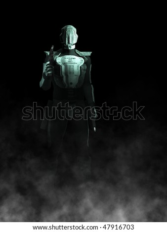 A futuristic police or robot holding a gun in each of its hands. Black background with fog coming from the ground.