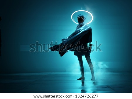 A futuristic space women cyborg astronaut standing in front of the camera with a glowing neon loop. Conceptual people portrait 3D illustration.