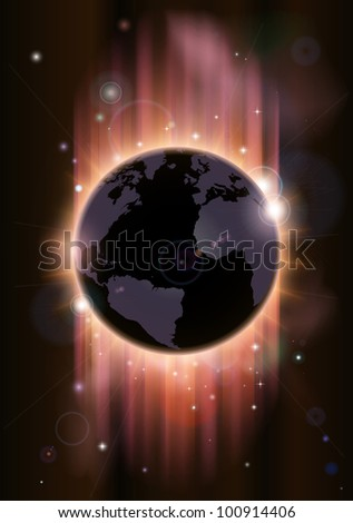 A futuristic world globe concept illustration with light rays and stars