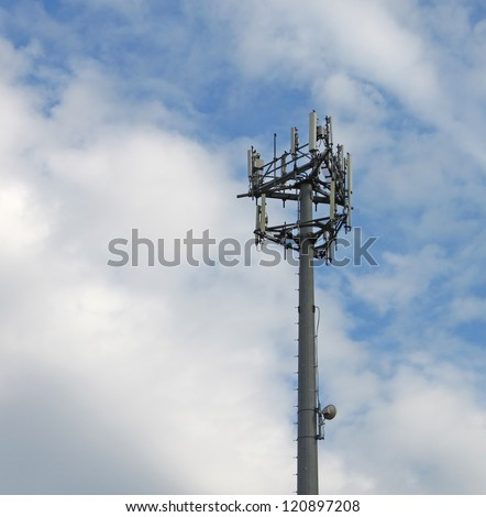 A 4G cell phone, mobile phone, internet and telecommunications tower local base station