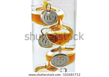 A Galileo thermometer isolated against a white background