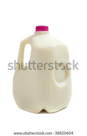 a gallon jug of milk on a white background
