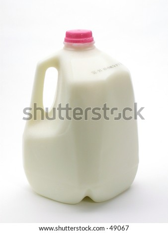 A gallon of milk on a white background.