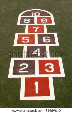 a game of hopscotch painted in a school yard