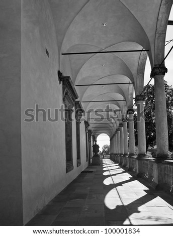 A game of light and shadow, arcade of the Queen Anne's Summerhouse, Prague