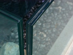 a gap of 12 mm. thick of laminated glass (selective focus)