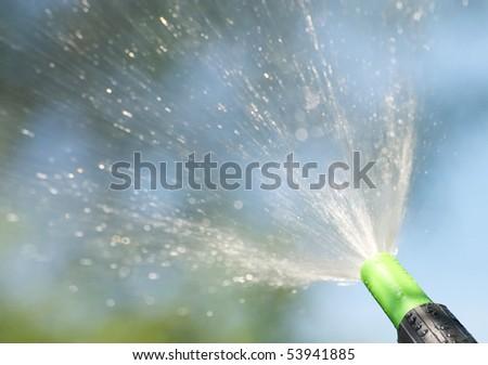 A garden hose sprays into the sunshine on a hot summer day.