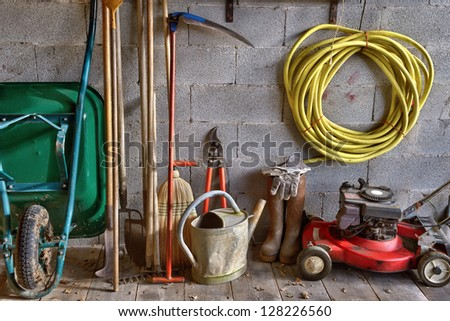 a garden shed with all the tools of the gardener