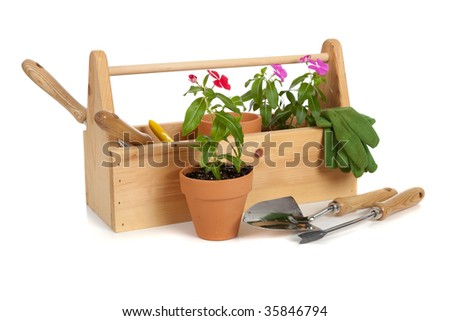 A gardener's tote box on a white background with tools, plants and gloves