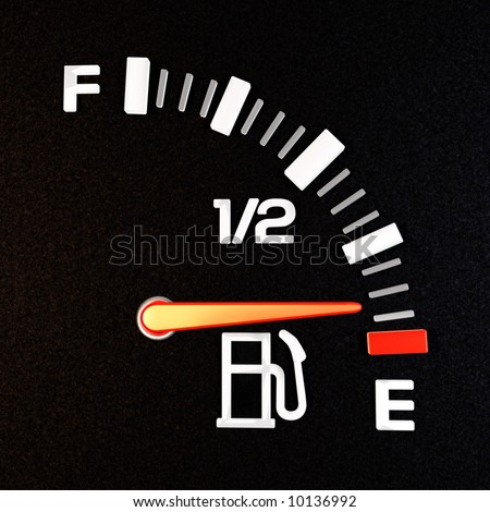 A gas gauge showing empty