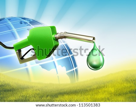 A gas nozzle with a drop of some eco-friendly fuel. Digital illustration.