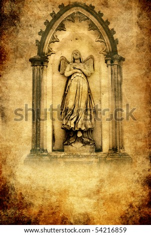 a gate with beautiful angel in vintage grunge style