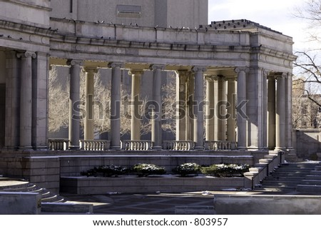 A gathering place for outdoor events and theatre in Denver with doric columns.