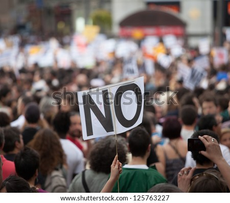 A general image of unidentified people protesting.