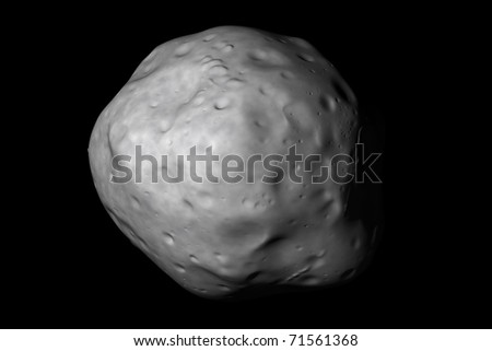A generic asteroid on black. Realistic 3d render created by an astronomer.