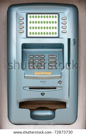 "a generic ""ATM"" or ""Automatic Teller Machine"" with room for your text"