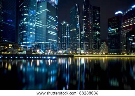 A generic city night view at water bay front -Singapore