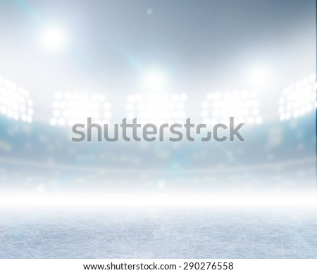 A generic ice rink stadium with a frozen surface under illuminated floodlights