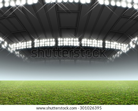 A generic indoor stadium with an unmarked green grass pitch at night under illuminated floodlights