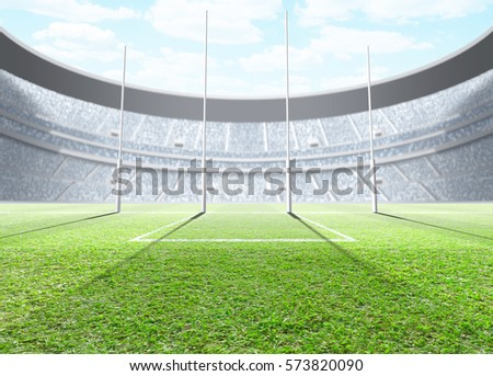 A generic seated aussie rules stadium showing goal posts on a green grass pitch in the day time under a blue cloudy sky - 3D render