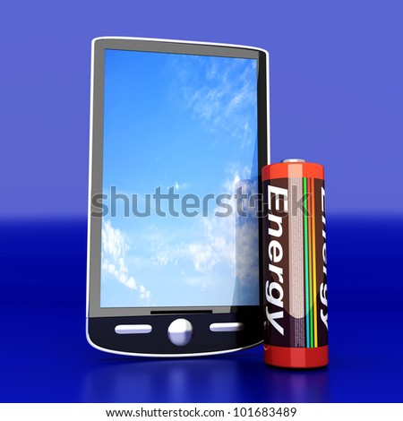 A generic Smartphone with a Battery. 3D rendered illustration.