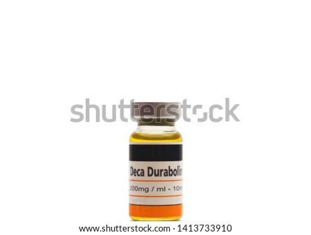 A generic unbranded bottle of Deca Durabolin containing the active ingredient nandrolone decanoate used to treat osteoporosis and some types of anemia and breast cancer in women Сток-фото ©