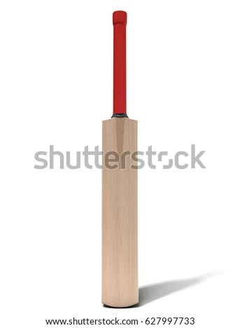 A generic wooden cricket bat on an isolated white background - 3D render